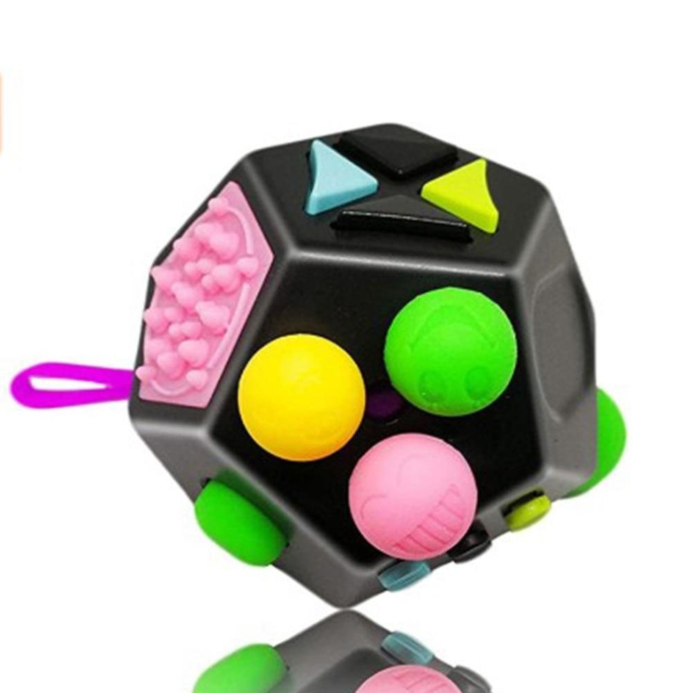 Black 12 Sides Fidget Cube Anti Stress Toy