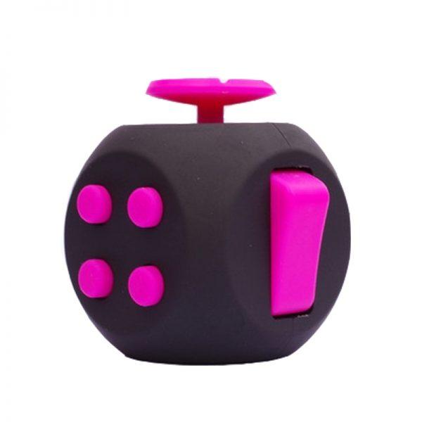 Black-Pink-6-Sides-Cube-Fidget-Anti-Stress-Toy