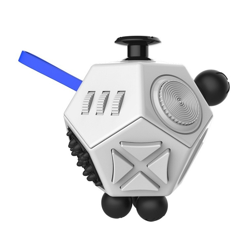White 12 Sides Fidget Cube Stress Relief Toy