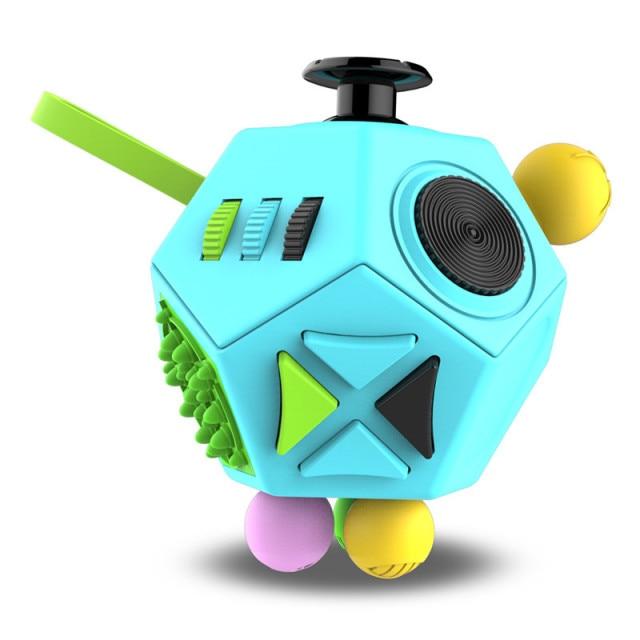 Blue 12 Sides Fidget Cube Stress Relief Toy