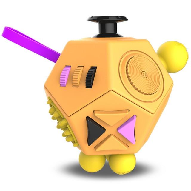 Orange 12 Sides Fidget Cube Stress Relief Toy