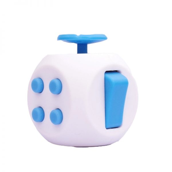 White-Blue-6-Sides-Cube-Fidget-Anti-Stress-Toy